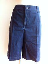 St. John's Bay Chino Shorts Flat Front Navy Cotton Blend Size 14