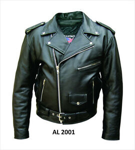 Size 46 - Mens Classic Black Belted Leather Motorcycle Biker Jacket