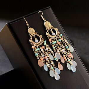 Charm Women Multi-Gemstone Seed Beads Hook Resin Crystal Drop Bohemian Earrings