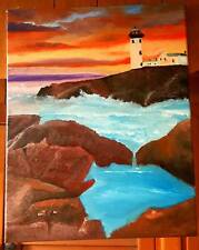 Original-One of a Kind- Oil on Canvas Painting-Lighthouse- Signed-COA-Listed *
