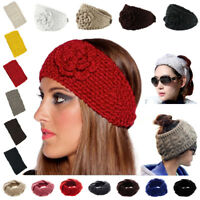 Headband Flowers Ear Crochet Hairband Winter Women Knit Warmer Headwrap Fashion