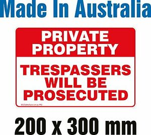 PRIVATE PROPERTY - METAL Sign 200mm X 300mm
