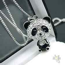 Women Girls Cute Enamel Rhinestone Crystal Panda Pendant Chain Necklace Jewelry