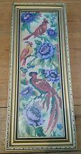 Vintage Enmarcado Aves Exóticas pieza de Bordado de Punto de Cruz