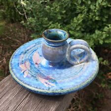 Beautiful Pottery Hand Made Bed Chamber Candle Stick Holder Blue Glaze