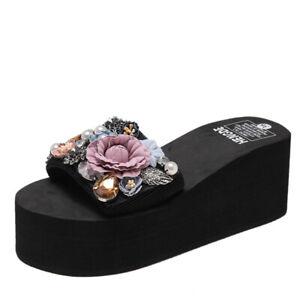 Womens Girls Flowers Diamonds Med Wedge Platform Slippers Summer Beach Sandals