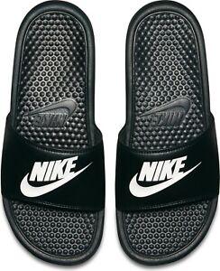 NWT Nike Benassi JDI Black white Men's Slide Flip Flop Size 4-18 FREE SHIPPING