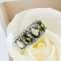 Xmas Gorgeous Shiny Huge Natural Olive Peridot Gemstone Silver Ring Size 6-10