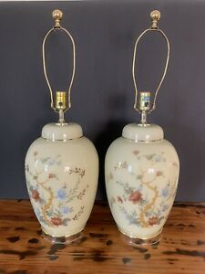 Glass Ginger Jar Shape Table Lamps with Painted Flowers & Gold Trim Set of 2
