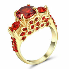 Size 7 Gold Wedding Engagement Cluster Ring Cocktail Red CZ Stone Crystal Girl