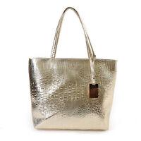 Large Metallic Gold Silver Black Tote Bag Crocodile Snakeskin Handbag Leather