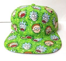 new RICK AND MORTY SNAPBACK HAT Lime Green UNSTRUCTURED 80s style Flat Bill Mens