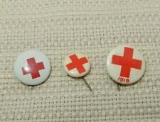 Great lot of 3 tiny vintage 1917-1918 Red Cross pinbacks A3