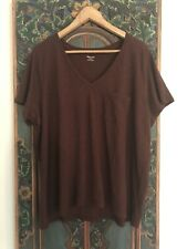 Madewell New Whisper V Neck Cotton T Shirt Brown Plus Size  3X