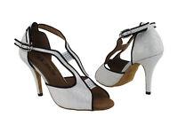 Latin Salsa Very Fine Competitive Ballroom Dance Shoe SERA1606 Pearl Silver