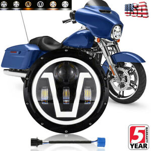 "7"" inch LED Headlight DOT Fit for Yamaha V-Star XVS 650 950 1100 Classic Stryker"
