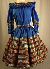Square Dance Vintage 3 PC. Squaw Patio Dress Western Skirt Top Belt Rare
