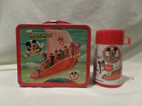 "VINTAGE 1977 WALT DISNEY ""MICKEY MOUSE CLUB"" RED METAL LUNCH BOX WITH MATCHING P"