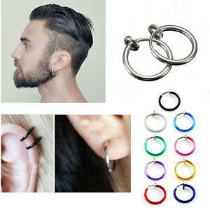 Metal Color Spring Loaded Non Piercing Illusion Fake Clips 8mm-14mm Pair Rings
