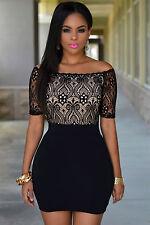 Mini Abito cono nudo pizzo ricamato aderente Lace Top Off Shoulder Mini Dress L