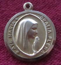 Vintage Catholic Religious Medal - 800 SILVER - Ave Maria Gratia Plena  VATICANO