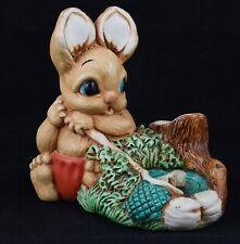 Very Cute Pendelfin Style Hand Painted Stoneware Woodlander ~ Pedro ~ Fishing