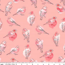 "Riley Blake by Amanda Herring ""Desert Bloom"" Bird In Pink Cotton Fabric Bty"