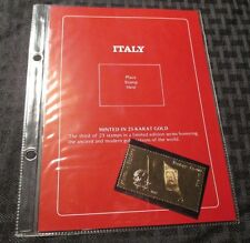 ITALY 23 Karat Gold Stamp #3/23 in Sleeve MINT