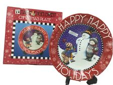 "Nib Mary Engelbreit 8"" Limited Christmas Plate Snowman Happy Happy Holidays"