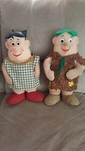 "1960's Hanna Barbera 17"" Fred & Barney Flintstones cloth stuffed dolls"