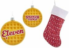 Stranger Things Holiday Bundle Featuring Eleven Waffle Ornament and Red Stocking