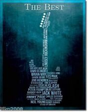 THE BEST GUITARISTS, METAL WALL SIGN 40X30 CM HENDRIX/CLAPTON/PAGE/BECK/GILMOUR