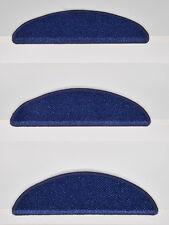 15er Set kleine Stufenmatten Treppenmatten SYLT Edel-Velour BLAU ca.56x16x4cm