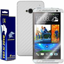 ArmorSuit MilitaryShield HTC One M7 Screen + White Carbon Fiber Skin! Brand New!