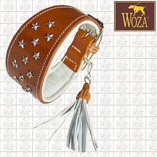 Premium Greyhound Collar WOZA Saddlery-sewn Full Leather Padded Soft Cow Napa G5
