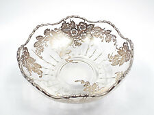 """Vintage Glass & Silver Overlay Floral Pattern Dish Bowl, 6"""""""