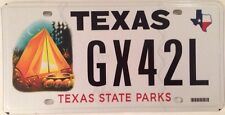Texas STATE PARKS National Park license plate Tent Camping Forrest Wildlife Wild
