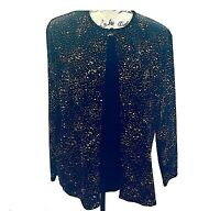 Women's Dressy Top Size XL Black Twinset New Years Holiday Sequins Notations NEW