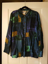 Coldwater Creek Blue / Gold / Green Button Down Shirt and Tank Set - Size L