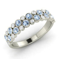 0.91 Ct Round Aquamarine Natural Diamond Engagement Ring 14K White Gold Size M N