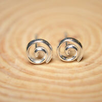 Shiny Solid 925 Sterling Silver Cute Small Spiral Swirl Circle Stud Earrings