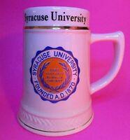 Rare Vintage Syracuse University Large Mug Beer Stein Orange Blue Gold Trim USA