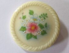 AVON floral painted FLOWER GARDEN flowers circle brooch PRETTY pin off-white EUC