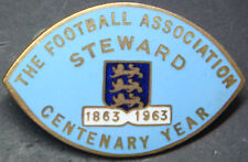 THE FOOTBALL ASSOCIATION 1963 CENTENARY YEAR STEWARD Badge Brooch pin 46mmx29mm