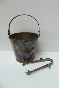 VINTAGE PARAMOUNT SILVER PLATED ART DECO ICE BUCKET AND TONGS