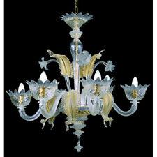 Lustre en verre de Murano 6 lumières  cristal or et blue