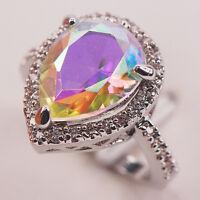 Rose Rainbow Topaz White Topaz Silver Gemstone Jewelry Ring Size 6 7 8 9 10 F602