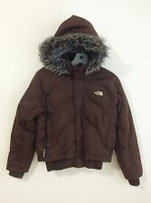 The North Face Puffer Down Hooded Jacket Brown w/Faux Fur Trim Size L