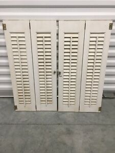 2- VINTAGE WOODEN WINDOW SHUTTERS