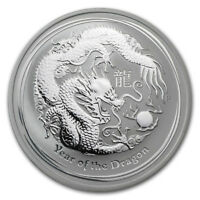 2012 Australia 1 oz Silver Year of the Dragon BU (Series II) 300,000 Mintage